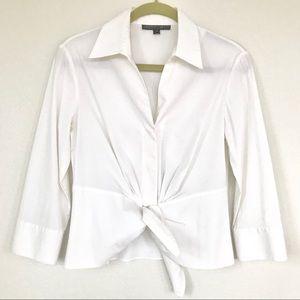 Lafayette 148 White Front Tie Blouse Size 4